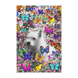 Violeta en mariposas - perro blanco de Westie Impresión En Lona