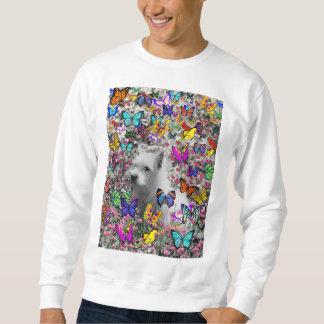 Violeta en mariposas - perro blanco de Westie Suéter