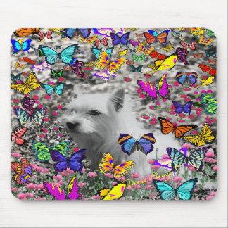 Violeta en mariposas - perro blanco de Westie Alfombrillas De Ratón