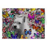 Violeta en mariposas - perro blanco de Westie Felicitaciones