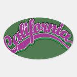 Violeta en verde pegatina de óval personalizadas