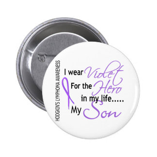 Violeta para el hijo del linfoma de Hodgkins del Pin Redondo De 2 Pulgadas