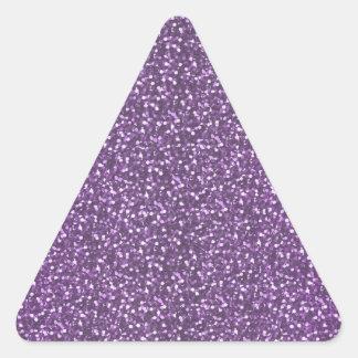 Violeta púrpura de las falsas chispas brillantes pegatina triangular