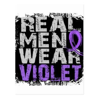 Violeta real del desgaste de hombres del linfoma tarjeta postal
