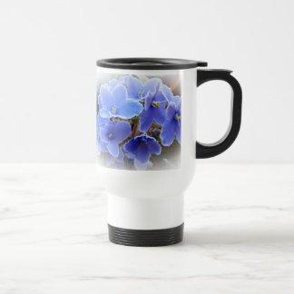 Violetas africanas azules taza de viaje de acero inoxidable