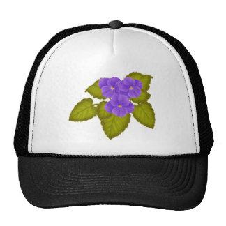 Violetas africanas púrpuras gorros bordados