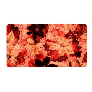 Violetas anaranjadas quemadas florales del vintage etiqueta de envío