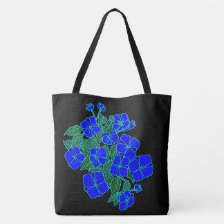 Violetas azules #1 bolsa de tela