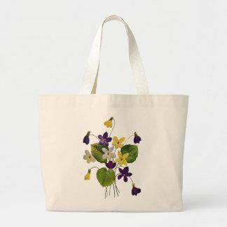 Violetas blancas, amarillas y púrpuras bordadas bolsa tela grande