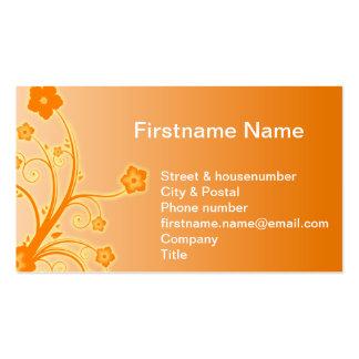 Violetas color de rosa preciosas anaranjadas de la tarjetas de visita