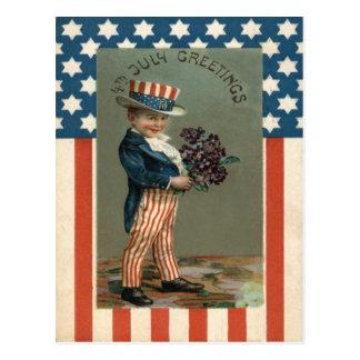 Violetas del muchacho del tío Sam de la bandera de Postal