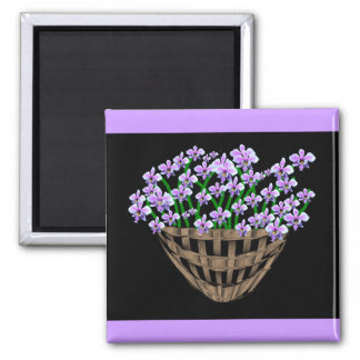 Violetas dulces imán cuadrado