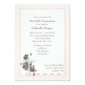 Violetas e invitación religiosa de la cruz invitación 12,7 x 17,8 cm