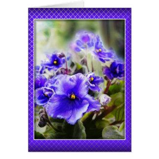 Violetas en la ventana - tarjeta