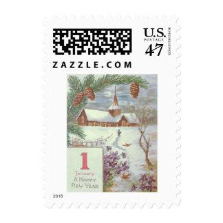 Violetas imperecederas de Pinecone de la rama de Sello Postal