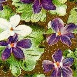 Violetas púrpuras verdes florales del vintage escultura fotográfica