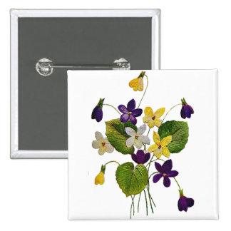 Violetas salvajes clasificadas hechas en bordado d pin cuadrado