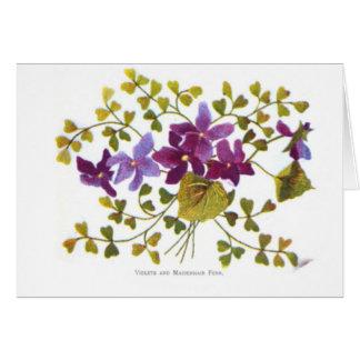 Violetas y helecho de Maidenhair Tarjeta De Felicitación