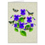 Violetas y mariposas felicitacion