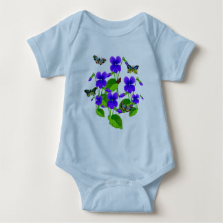 Violetas y mariposas poleras