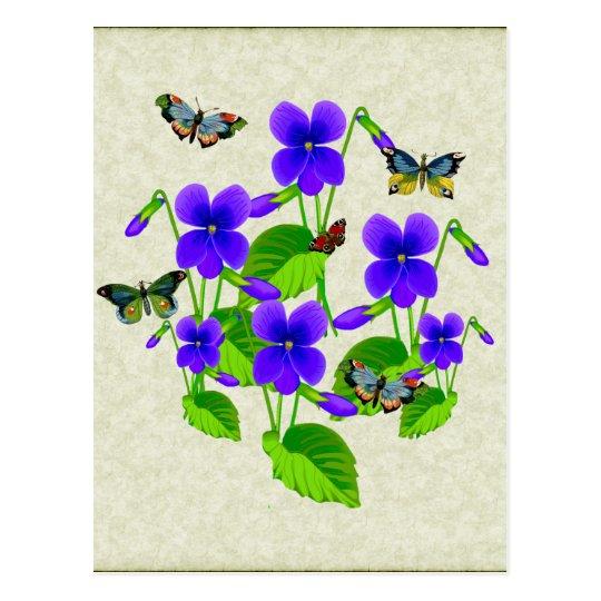 Violetas y mariposas postales