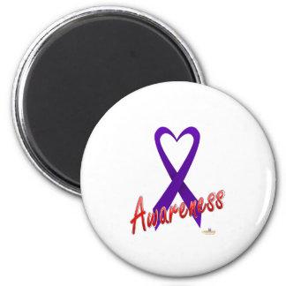 VioletHeartRibbonAwareness - modificado para requi Imán Redondo 5 Cm