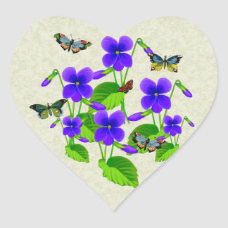 Violets and Butterflies Heart Sticker
