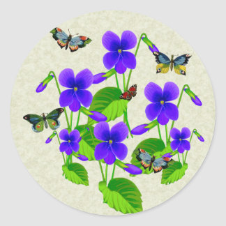 Violets and Butterflies Round Stickers