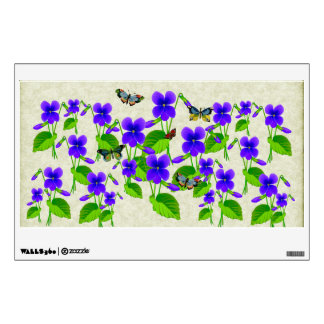 Violets and Butterflies Wall Decal