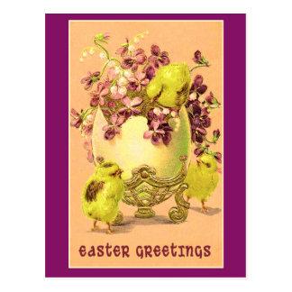 Violets and Chicks Vintage Easter Cards Postcards