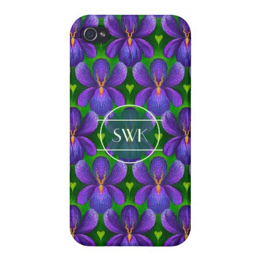 Violets and Hearts Template Purple Flowers Pattern Case For iPhone 4
