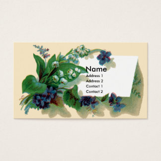 Violets and Lily of the Valley Victorian Business Card