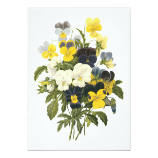 Violets and Pansy Flowers Botanical Art Card