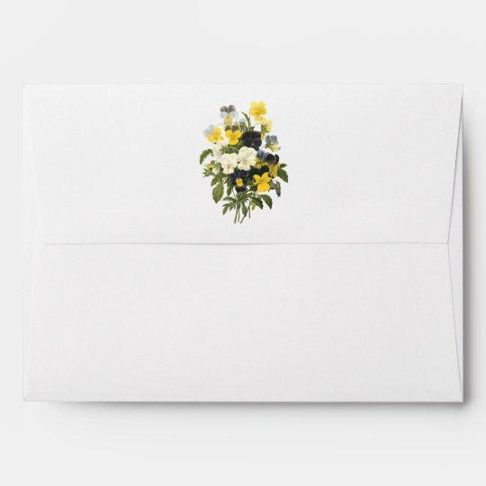 Violets and Pansy Flowers Botanical Art Envelope