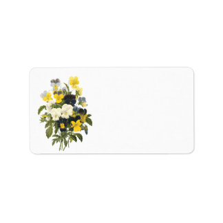 Violets and Pansy Flowers Botanical Labels