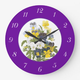 Violets and Pansy Purple Botanical Wall Clock