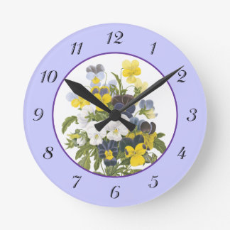 Violets and Pansy Vintage Botanical Flowers Clock
