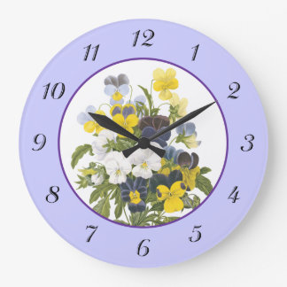 Violets and Pansy Vintage Botanical Wall Clock