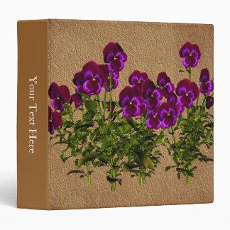Violets Faux Vintage Look Floral 3 Ring Binder