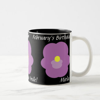 Violets February's Mug-Customize Two-Tone Coffee Mug