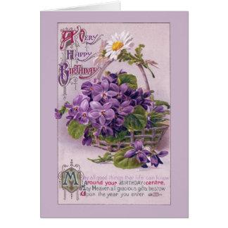 Violets in Basket Vintage Birthday Card