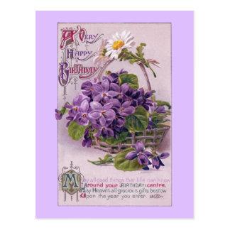 Violets in Basket Vintage Birthday Postcard