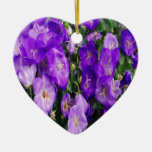 Violets in Bloom Double-Sided Heart Ceramic Christmas Ornament