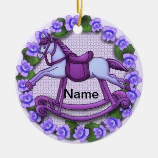 Violets Rocking Horse Christmas Ornament