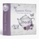 violets tea cup teapot butterflies notebook binder