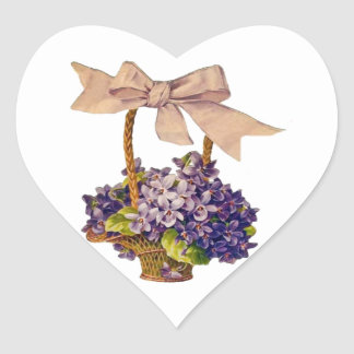 Violets with a Bow Sticker Heart Sticker