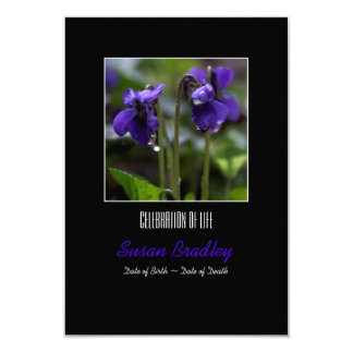 Violets with drops  Celebration of Life Invitation