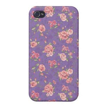 Beach Themed Violetta: Purple Rose Print iPhone 4 Case