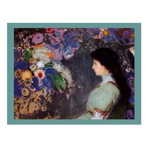 Violette Heymann - mujer con las flores Tarjetas Postales