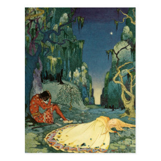 Violette sleeping in the forest postcard
